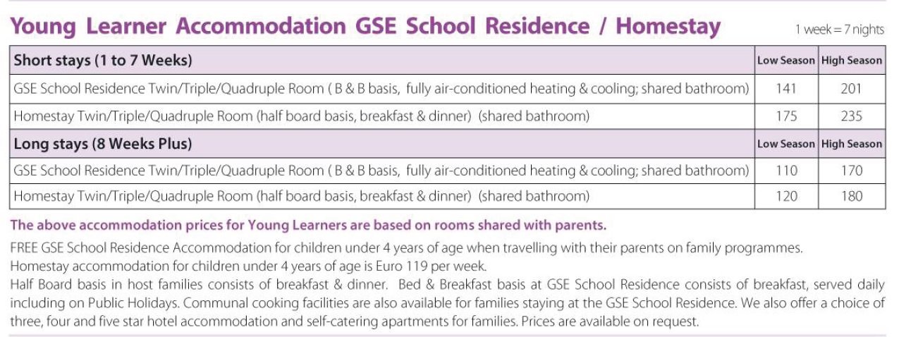 Family Programmes Gateway School of English GSE Kids English Accommodation Prices 2019