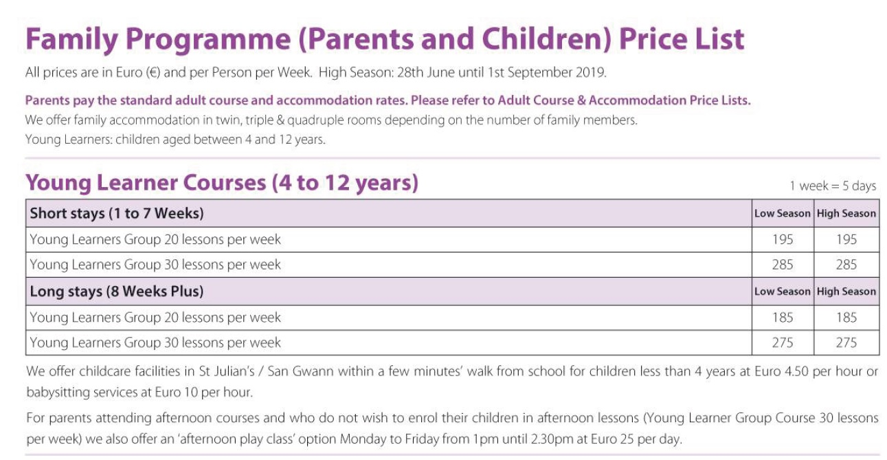 Family Programmes Gateway School of English GSE Kids English Course Prices 2019
