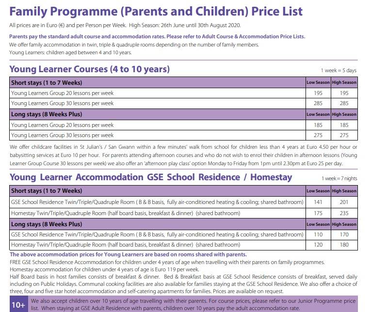 GSE Gateway School of English Malta Family Programmes Parents & Children cours d'anglais pour parents et enfants corso di inglese per genitori e figli Englisch Familienprogramme