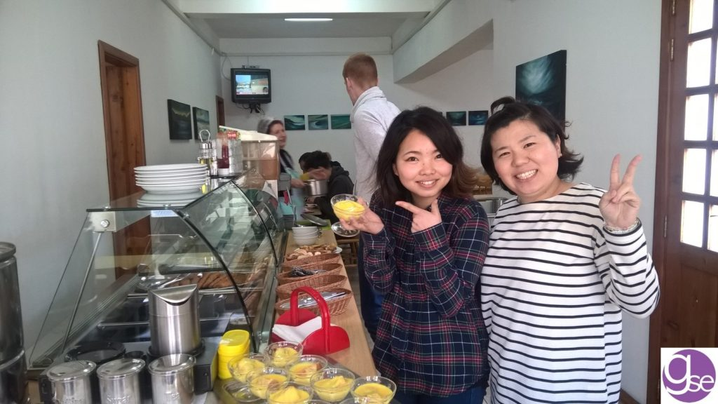 Japanese students during lunchtime at Gateway School of English Residence accommodation