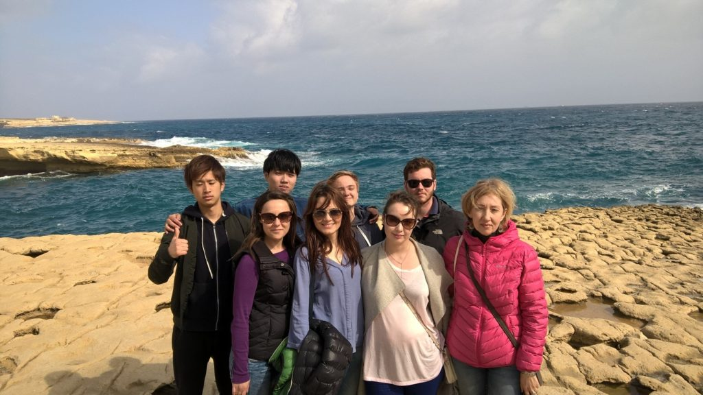 GSE Malta - Gateway School of English Students at St Peter's Pool in the south of Malta in February