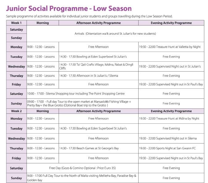 GSE Malta Junior Programmes Prices 2020 Teenagers English Courses cursos de inglês para adolescentes Engelse cursussen voor tieners kursy angielskiego dla nastolatków