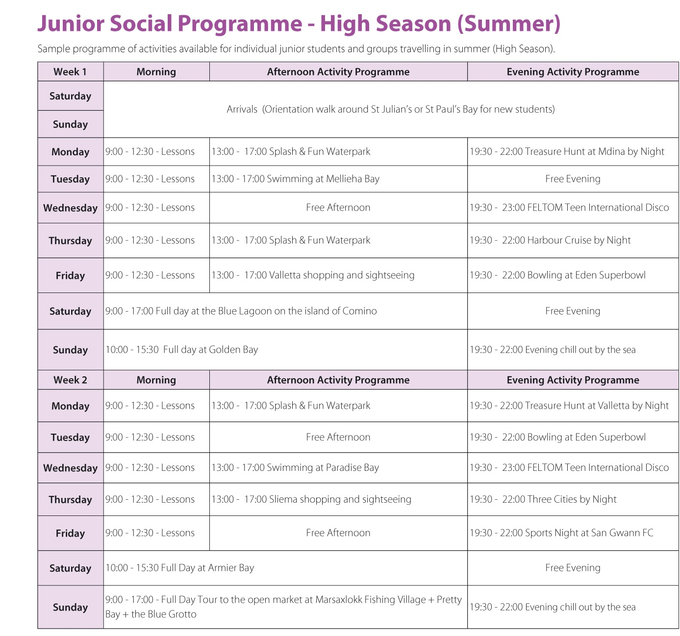 Junior English Programmes in Malta for Teens Prices 2021 Gateway School of English GSE Activity Programme Summer High Season