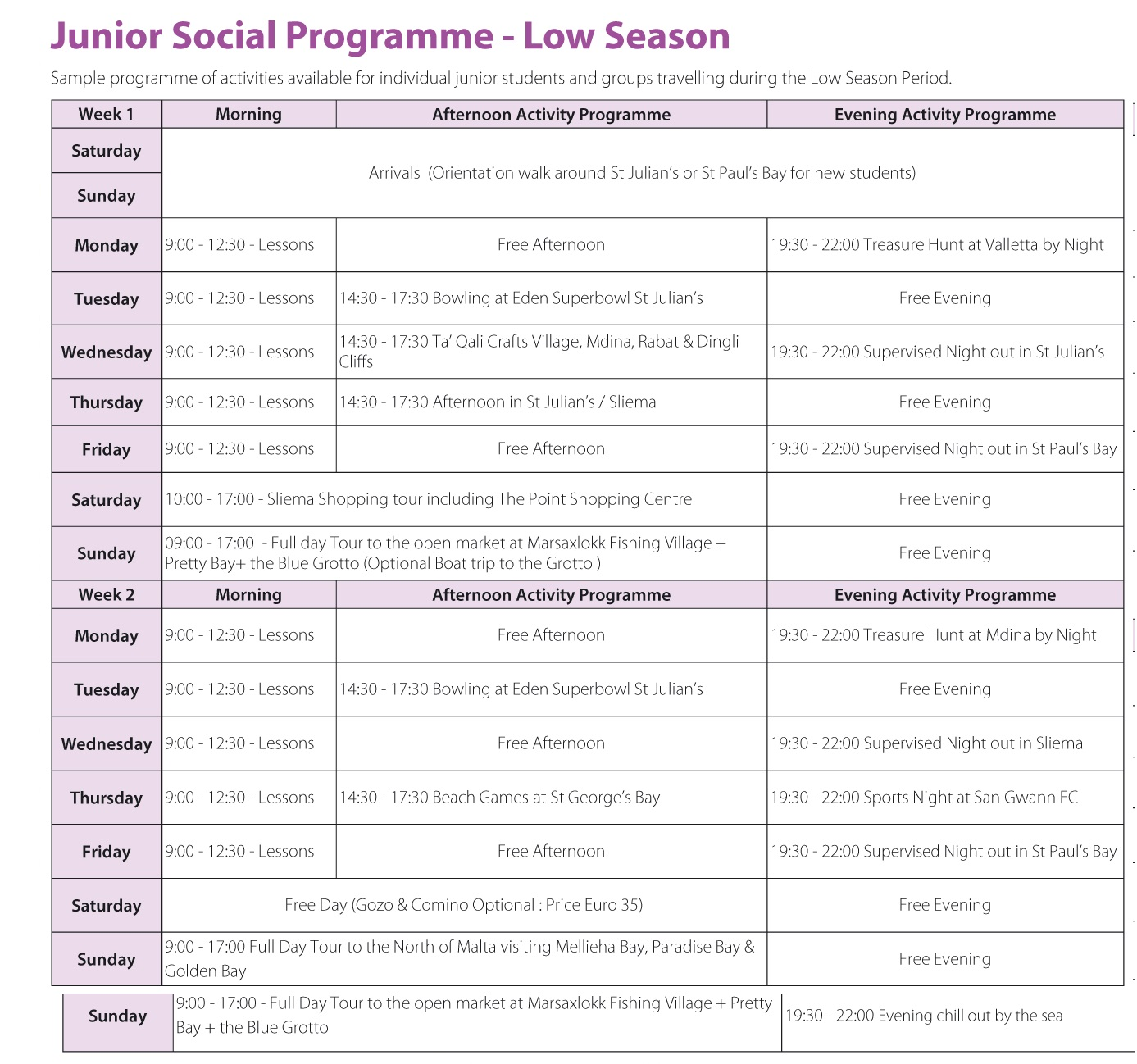 Junior English Programmes in Malta for Teens Prices 2021 Gateway School of English GSE Activity Programme Winter Low Season