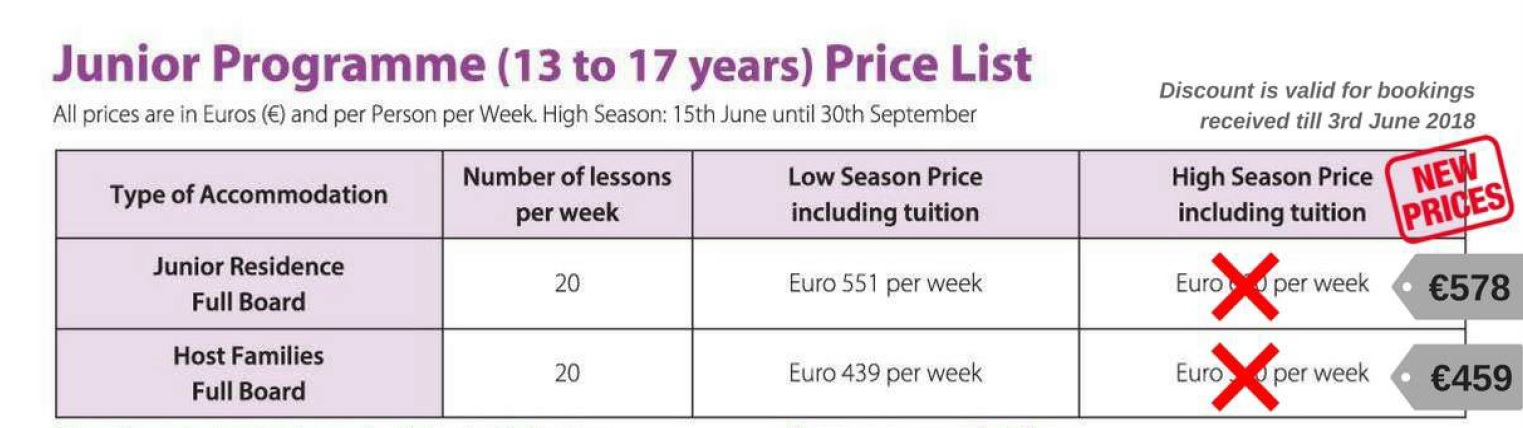 Special Summer Prices - GSE Junior Programmes for Individuals Teenagers