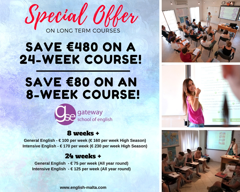 GSE Malta English school long stay discounts for English courses 8 weeks plus and 24 weeks plus