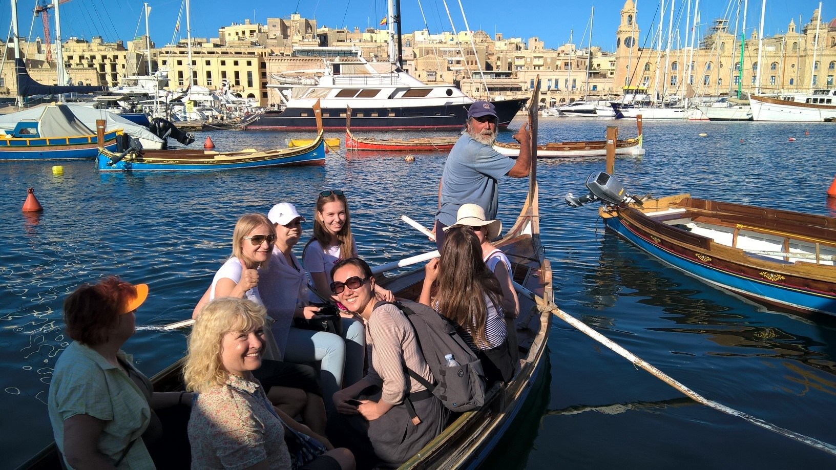 Gateway School of English GSE Malta Students at the Three Cities boat crossing from one city to the other
