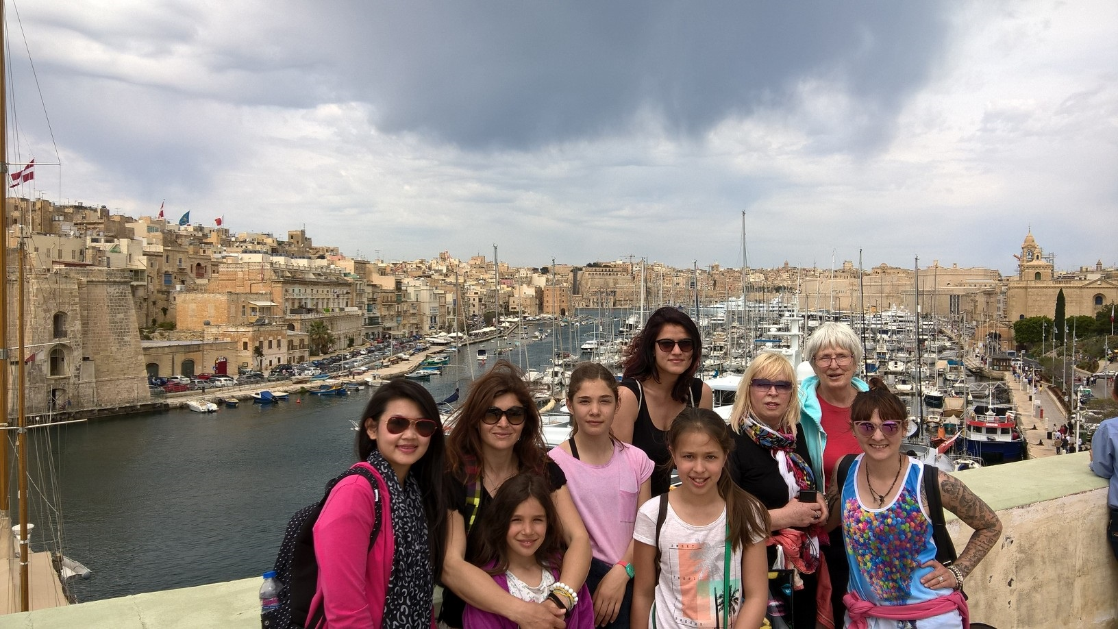 Gateway School of English GSE Malta Students at the Three Cities with the Grand Harbour in the background