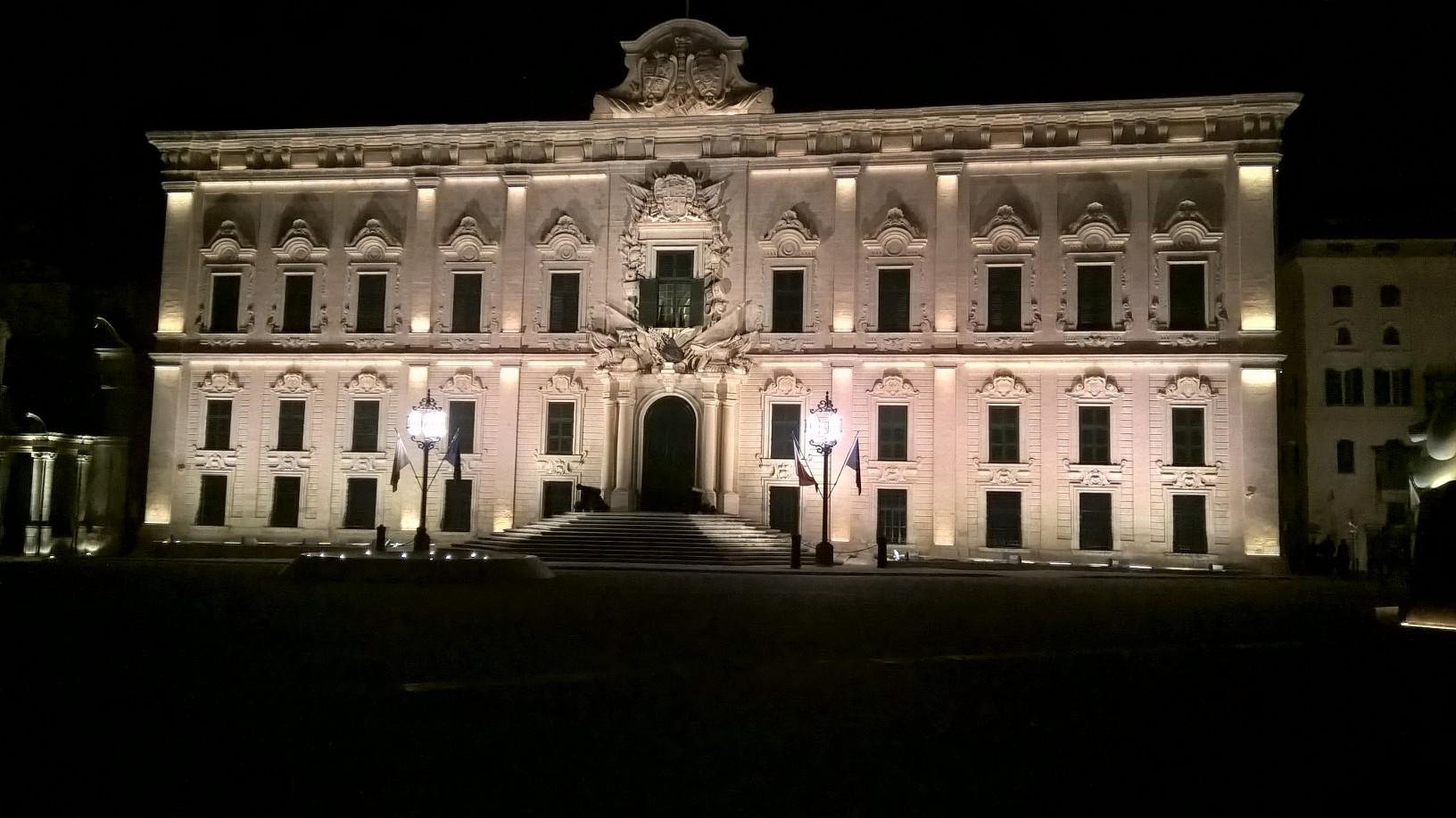 Gateway School of English Valletta by night Auberge de Catsille Valletta