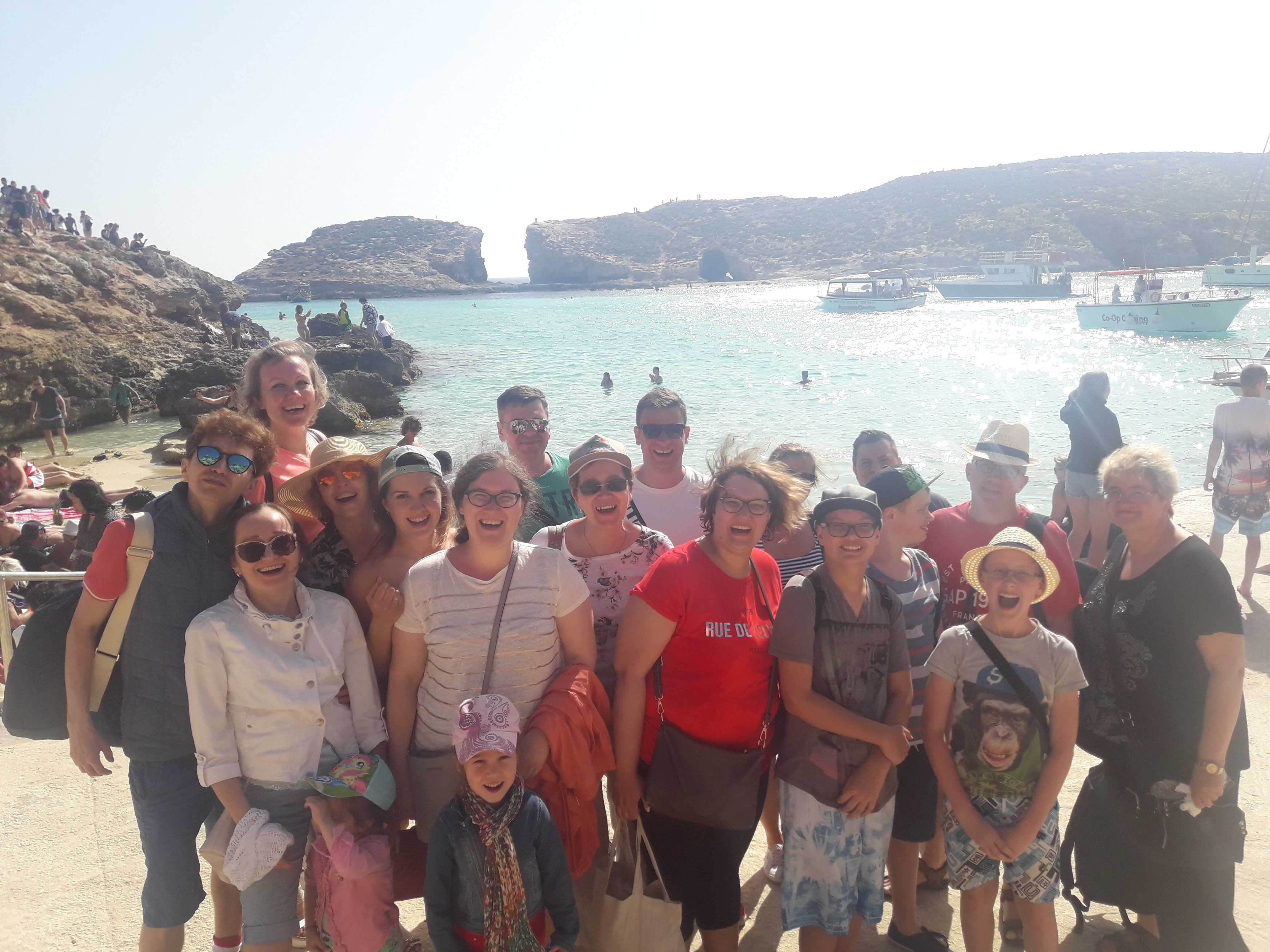 GSE Malta students on a family programme learning English in April and swimming at the Blue Lagoon in Comino