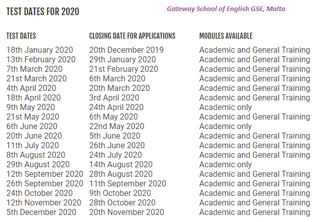 IELTS English Exam Malta test dates 2020