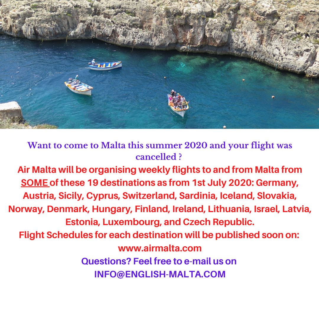 Air Malta flights Summer 2020 Gateway School of English GSE
