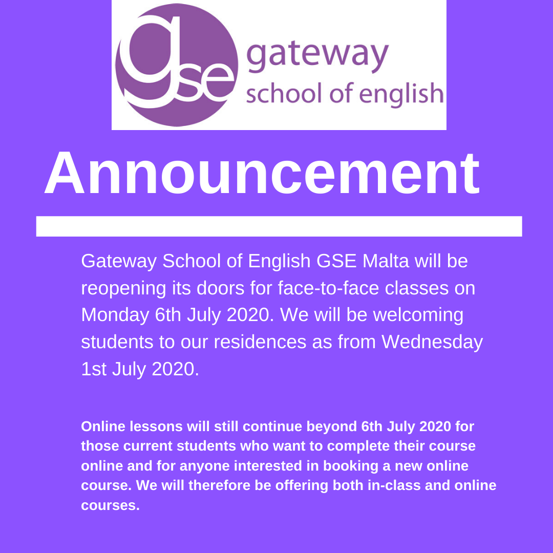 Gateway School of English GSE reopening in July 2020