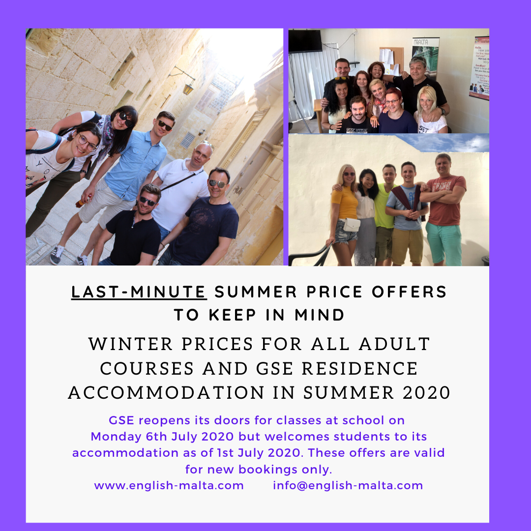 Summer English Courses Schools Malta Offers July and August 2020