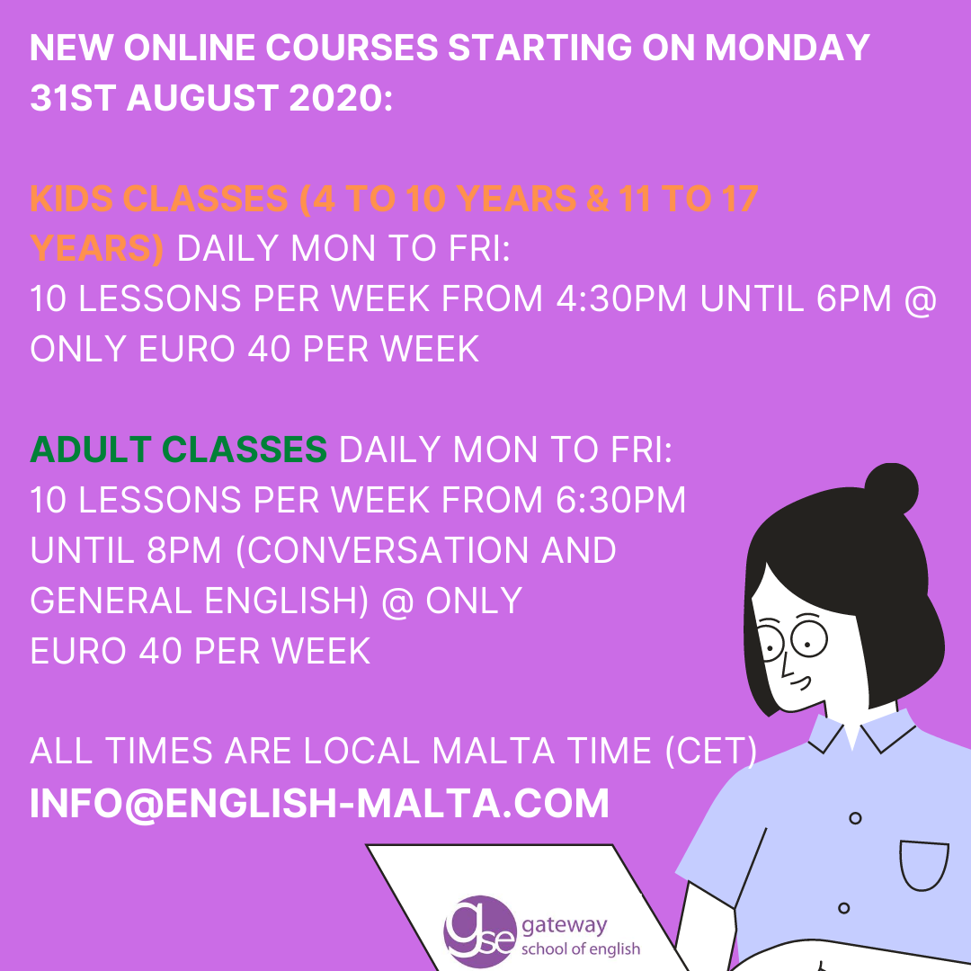 English Online courses for adults and Kids winter autumn and spring GSE Gateway School of English
