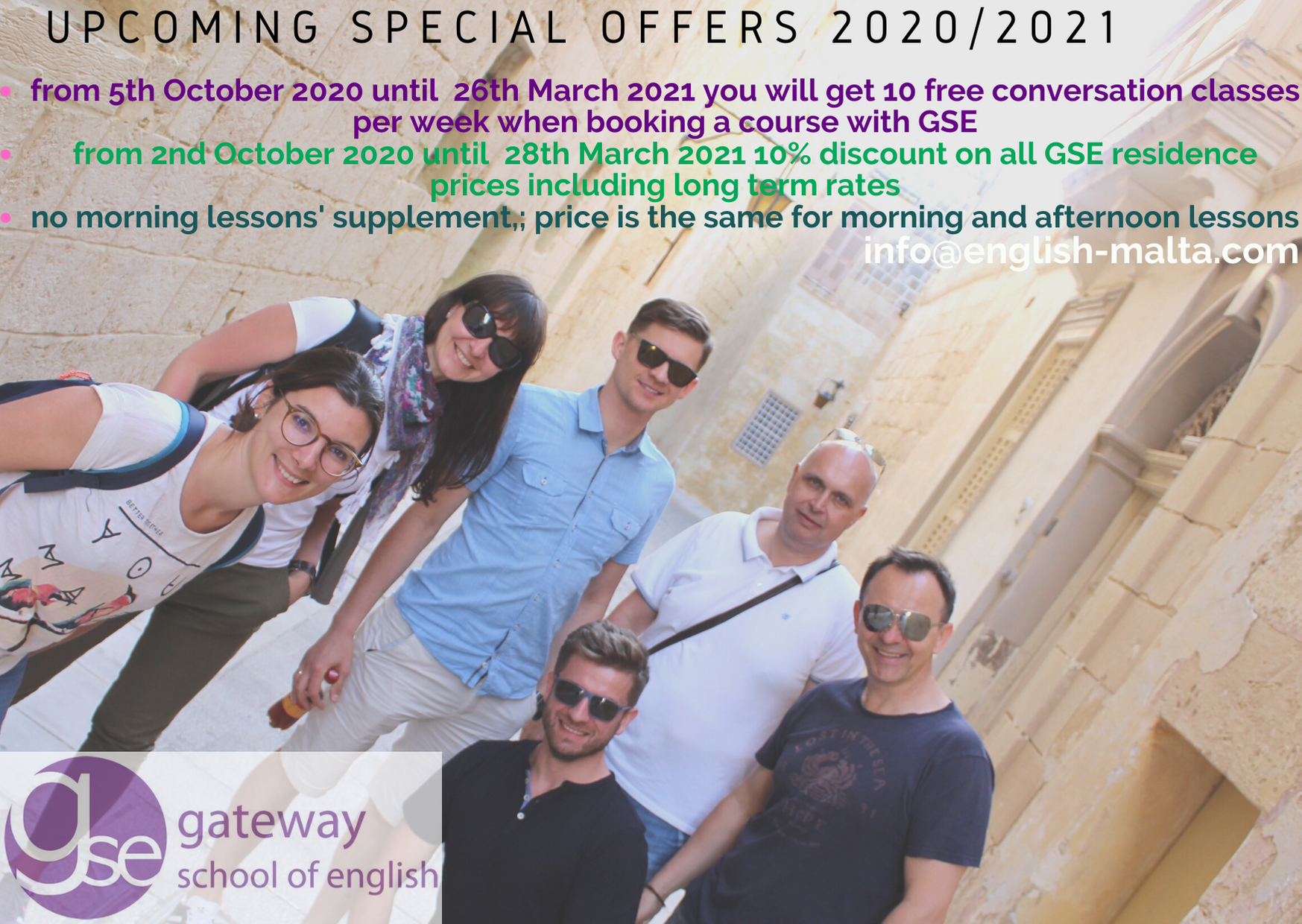 English language school Malta Special price offer on English courses with Gateway School of English GSE