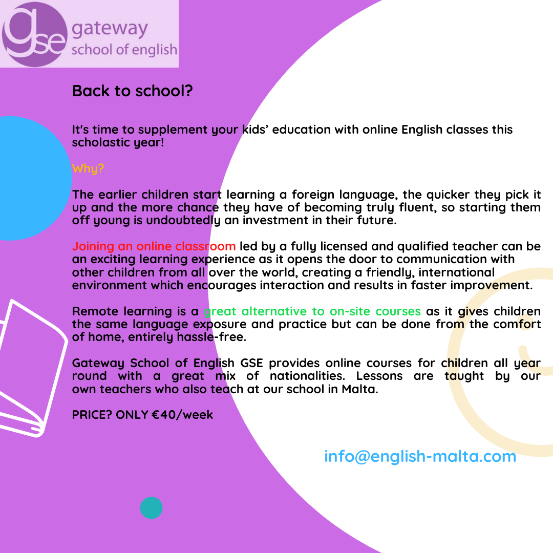 Online English courses for children kids with Gateway School of English GSE BACK TO SCHOOL SPECIAL OFFER