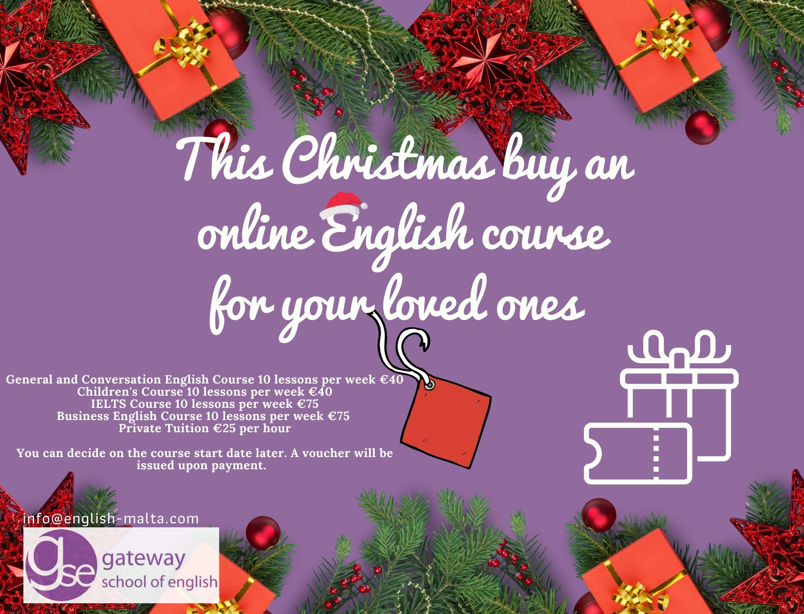 Online English Lessons Christmas Gift Voucher Gateway School of English GSE