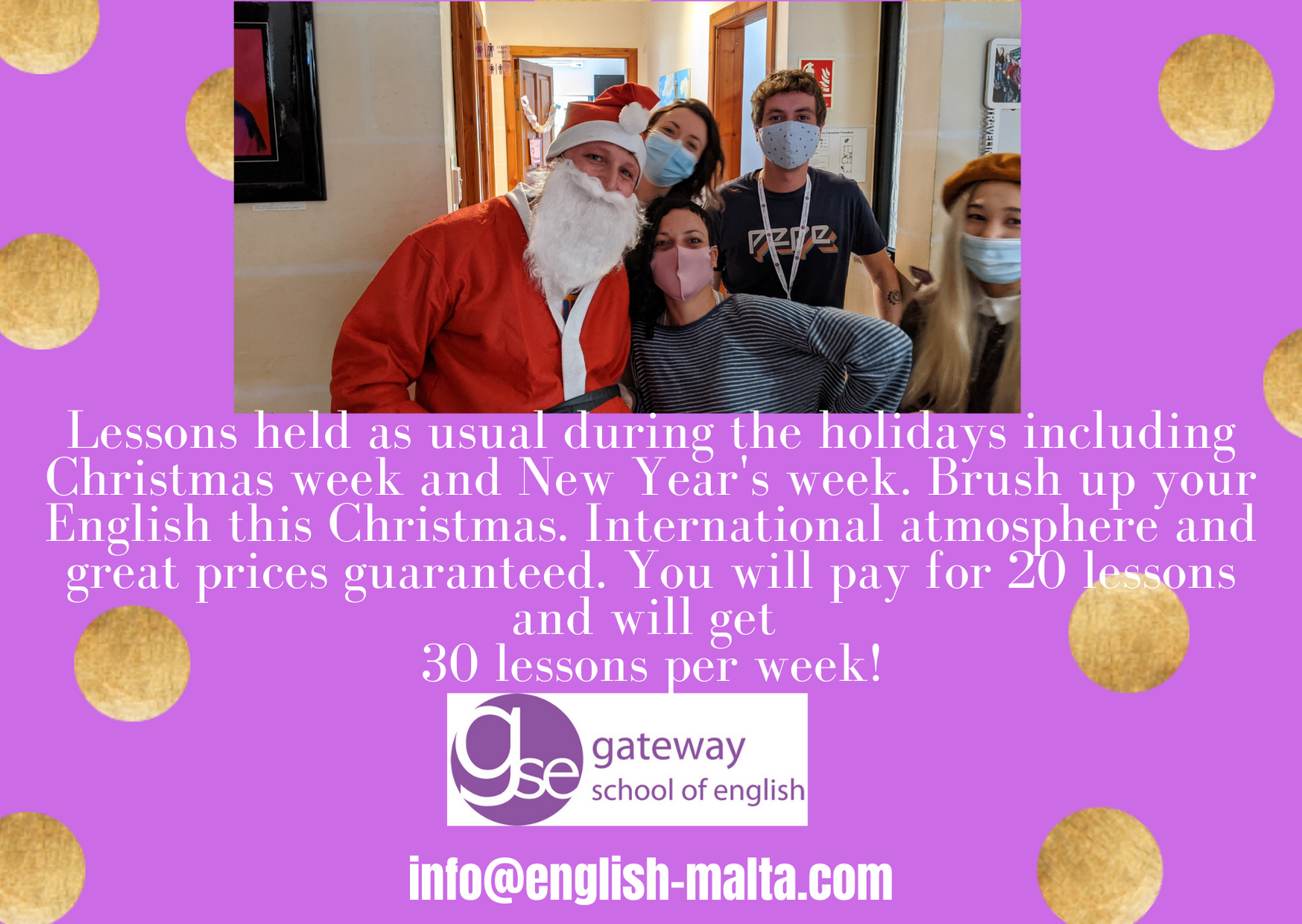 Learn English this Christmas with Gateway School of English GSE and make friends in Malta