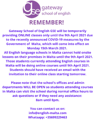 Gateway School of English GSE March 2021 Online English classes only