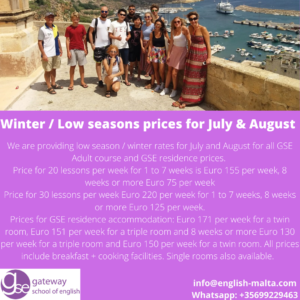 English School Malta Gateway GSE Summer July and August winter prices