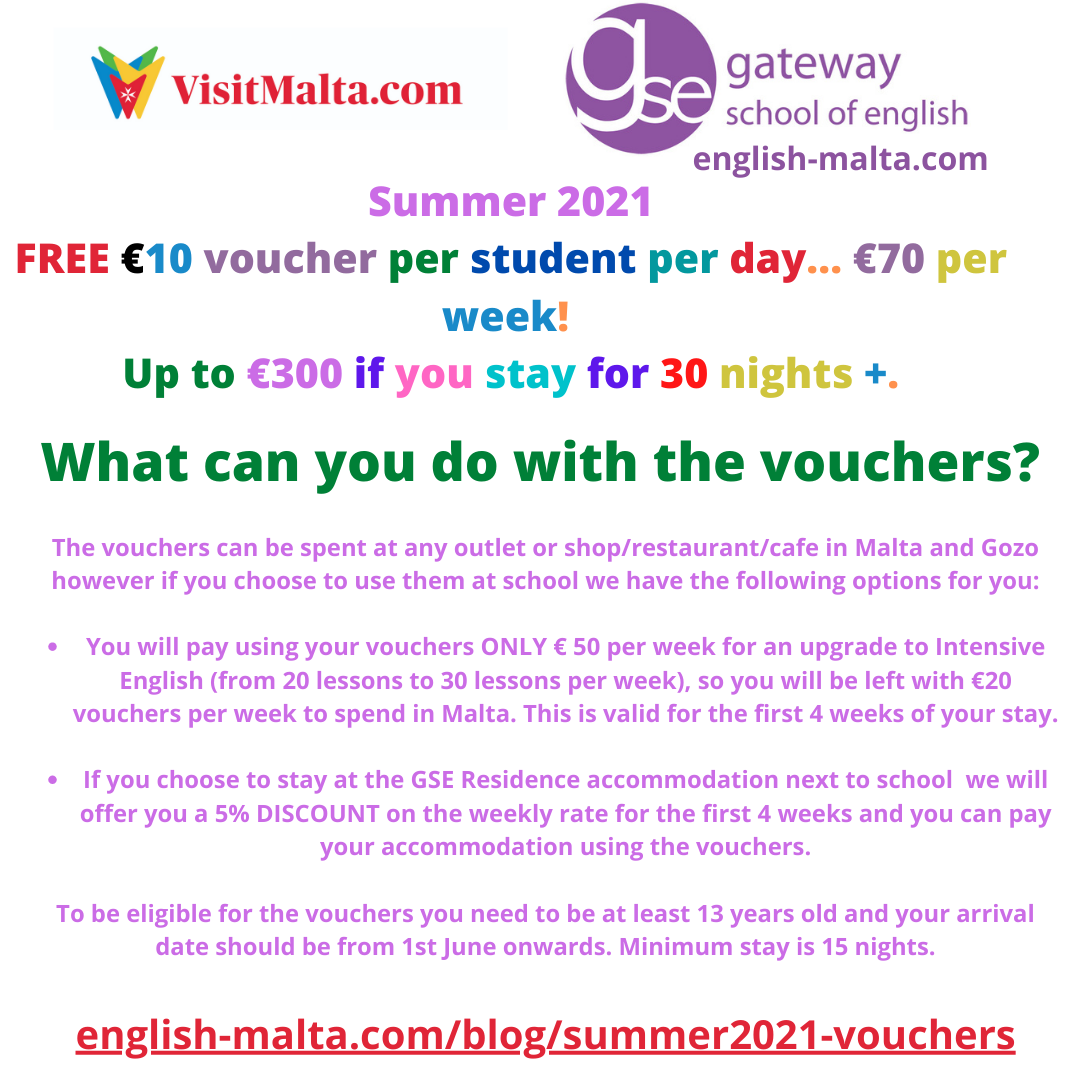 English schools in Malta Summer 2021 Free Vouchers Malta government Gateway School of English GSE