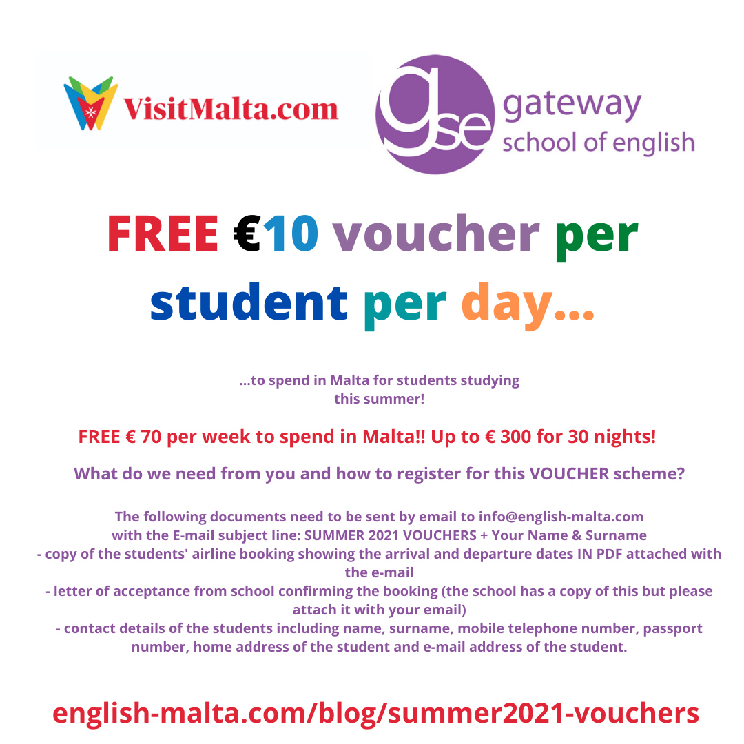 Free Vouchers English Language Schools Malta Summer 2021 Gateway School of English Courses